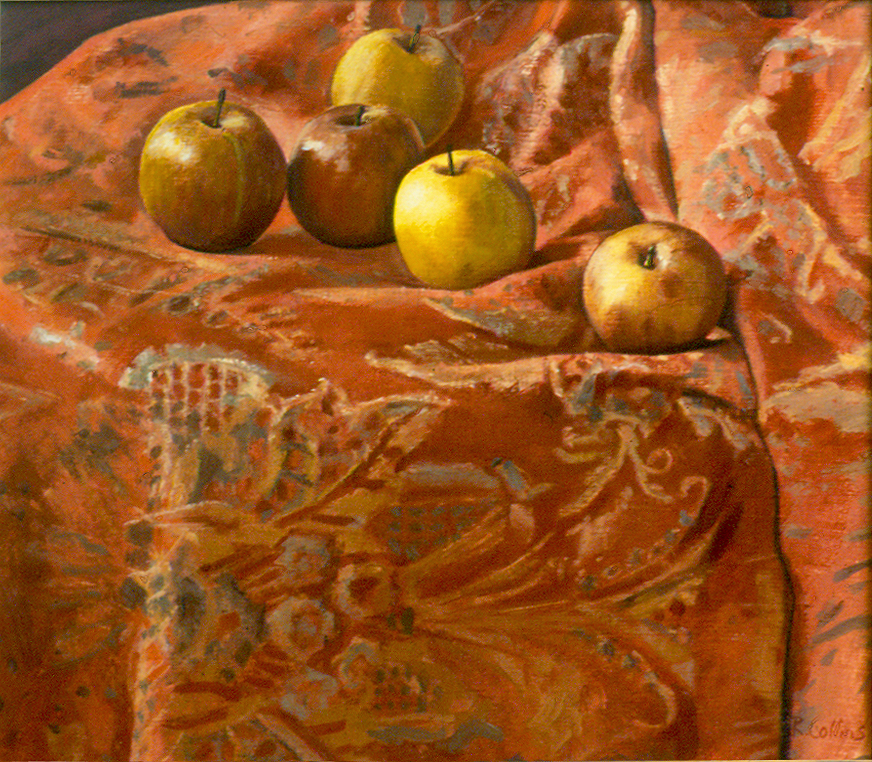 An orange damask fabric I have used in still lives for over 30 years. I've found nothing that provides a better foil to the colour and clear simple forms of apples.