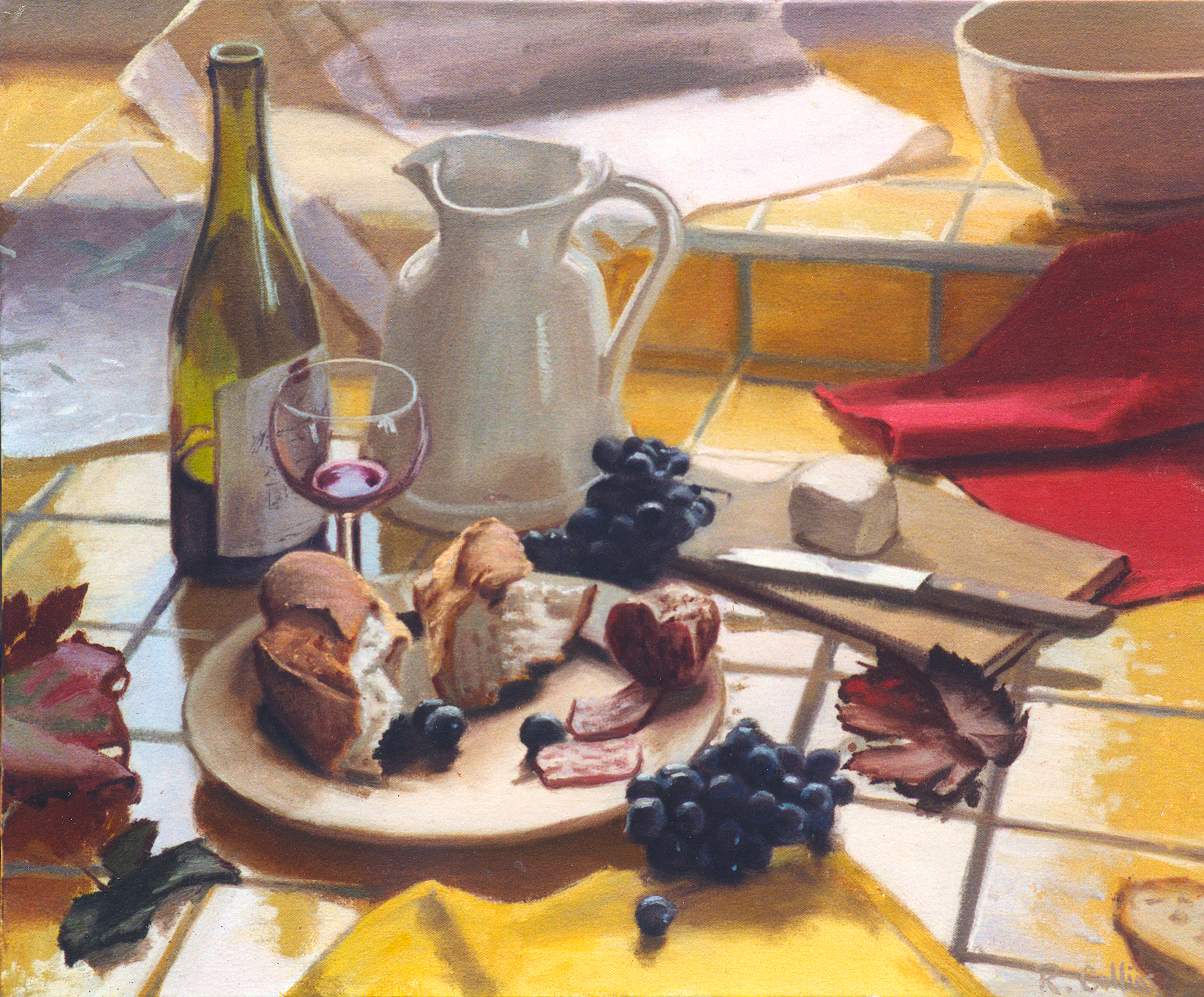 I was invited to the chateau of Lachassagne in the Beaujolais wine growing region of France to paint the wine harvest in the autumn. But there was frequent rain and dull light so I retreated indoors and using everyday things I found in the kitchen put together two still lives, this is one of them, a simple rustic lunch but a feast of colour, texture and light.