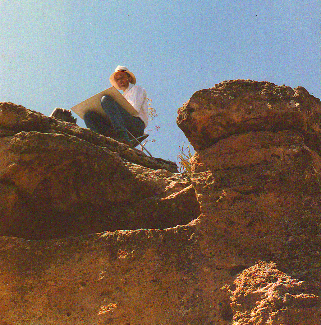 Painting high up on top of the ancient roman city wall at Agrigento