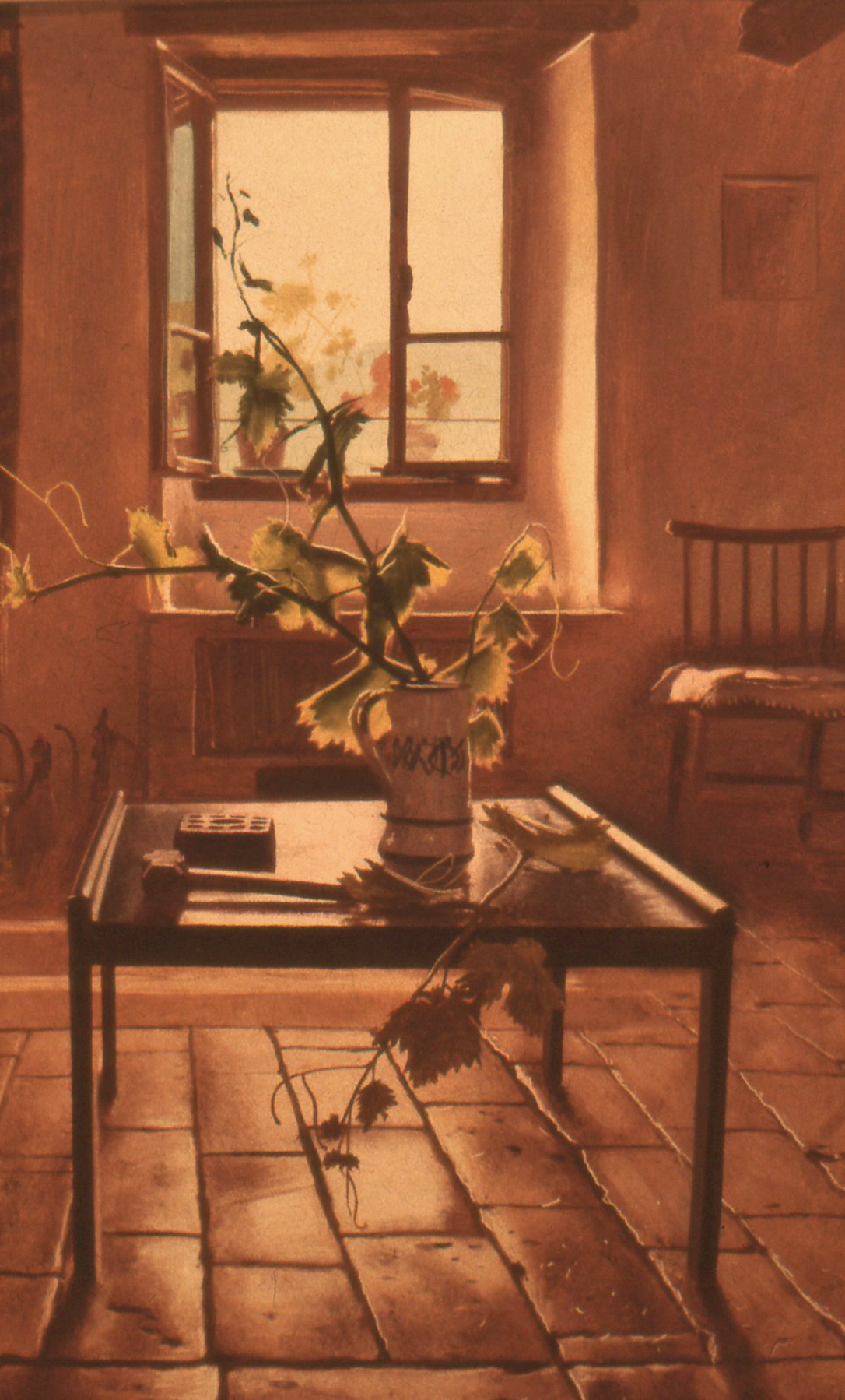 Tuscan interior with vine leaves