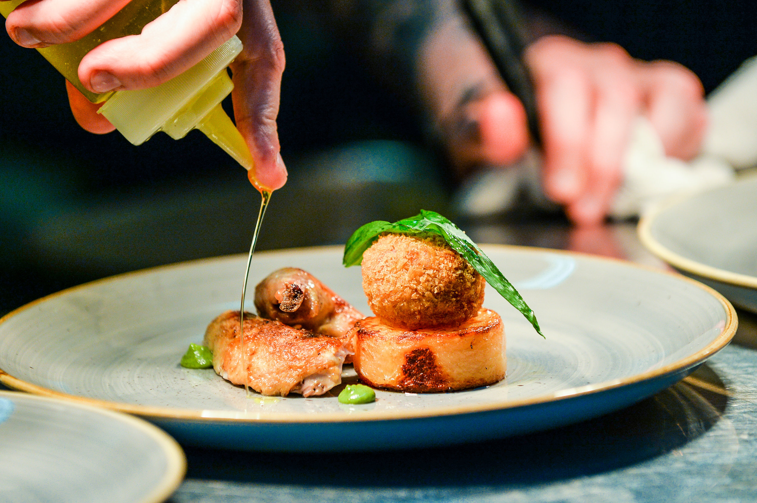 New dish at Matt Healy x The Foundry - Chicken kiev with chicken bon bon, chicken leg and fondant potato.jpg