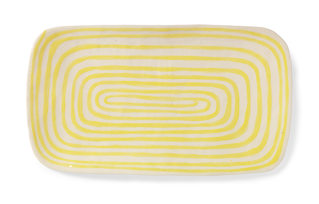 """Yellow Line, 2015 stoneware, glaze 7"""" x 10"""""""