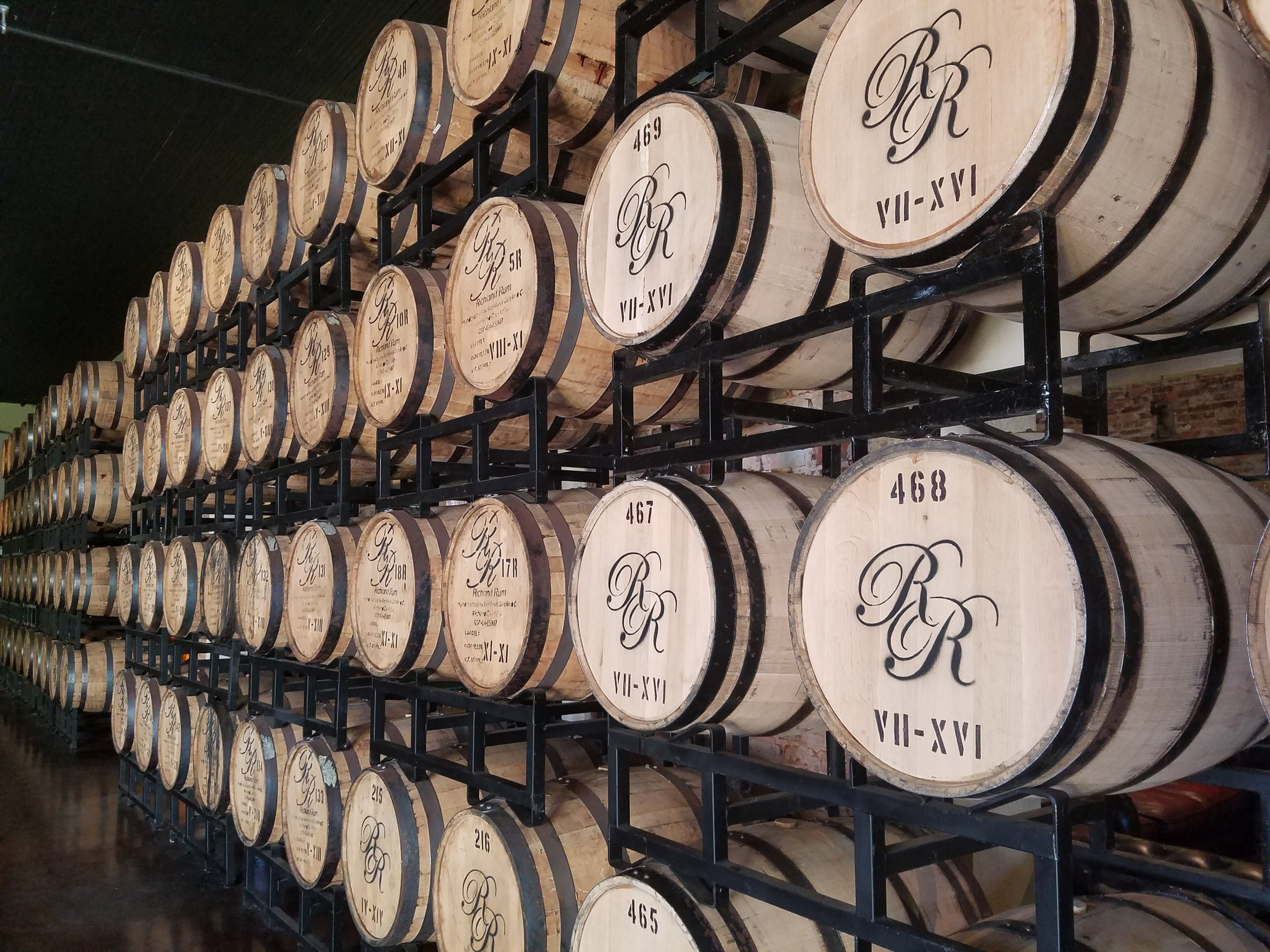 The aging barrels are stored throughout the buildings, which are original to the downtown.