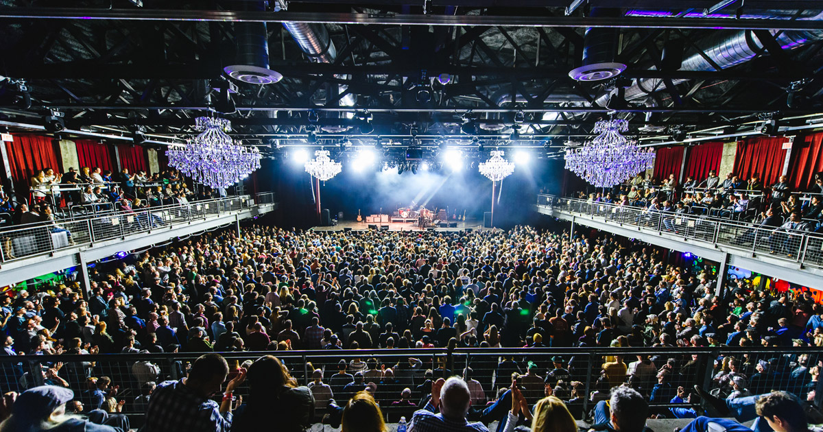 The main concert hall at The Fillmore, complete with mega chandeliers.   Photo: Visit Philly