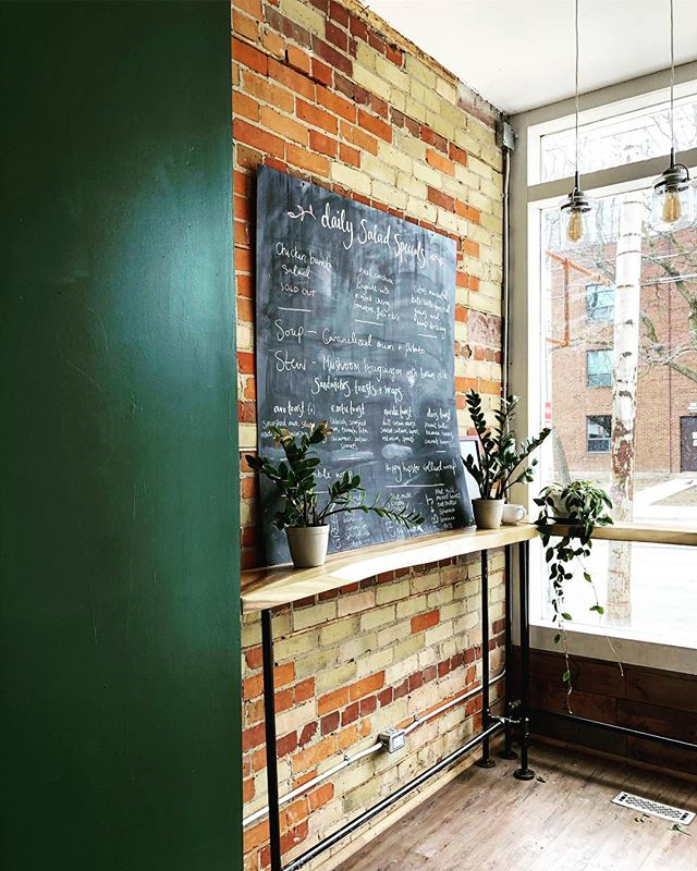 Psst..! Our brands first brick and mortar is undergoing a facelift and will be open soon! Let us know what you want to see in your neighbourhood cafe...we're listening..and painting..😏💚 #torontocafe #riverdalecafe #leslievillecafe #torontocleaneats #cafe #greenwall #brunch #blogto #healthycafe #freshjuice #smoothies #kombucha #goodlife #caterer #boutique #boutiquecaterer #cafeculture #coffee