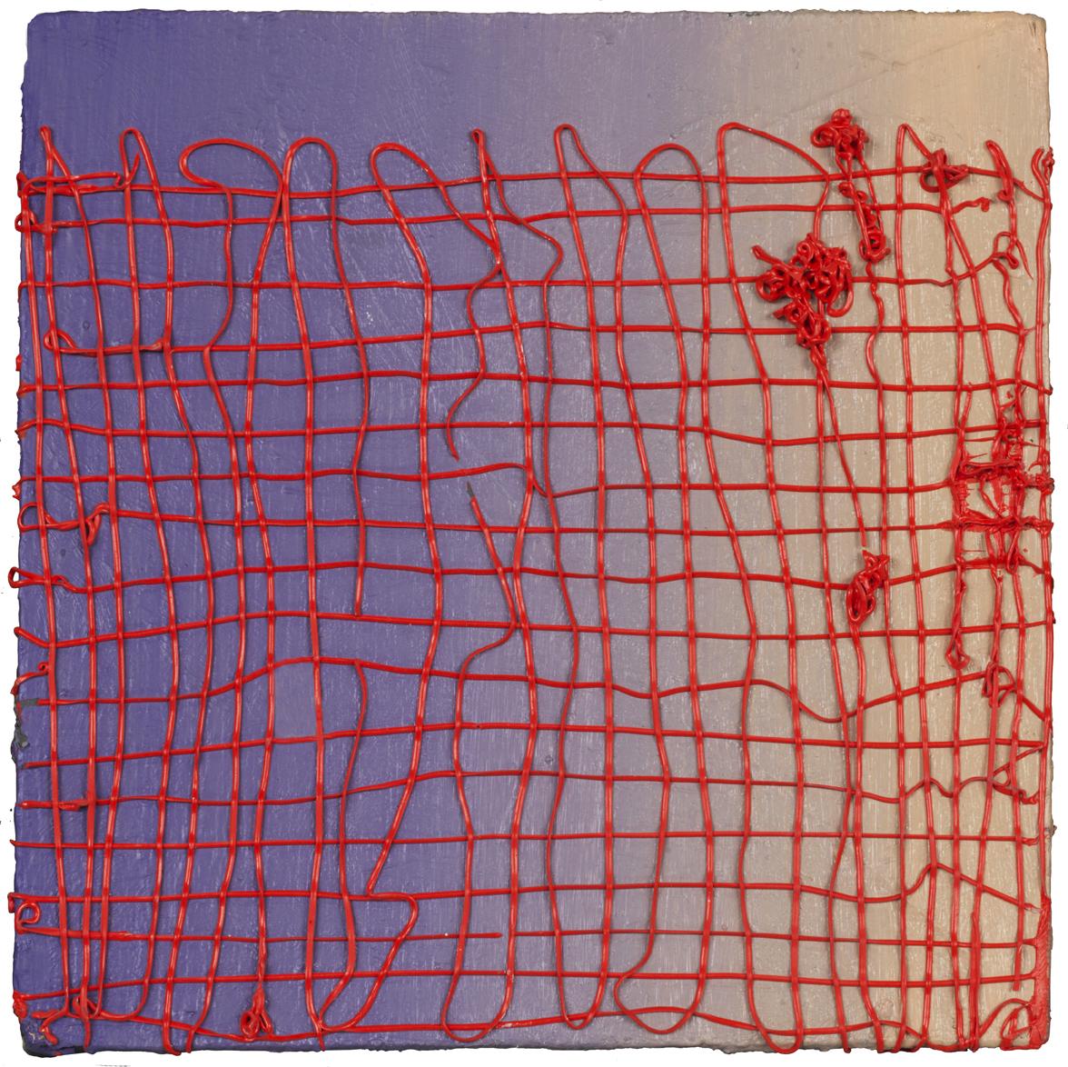 """Red on Purple, oil on panel, 4"""" x 4"""", 2018"""