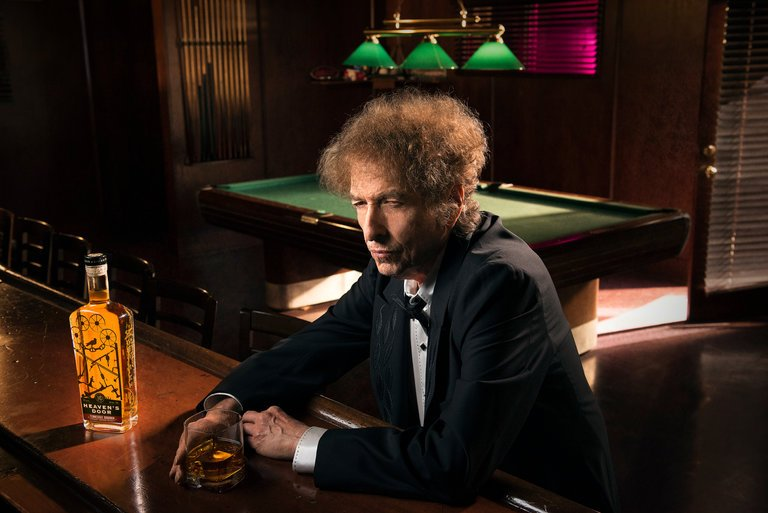 Bob Dylan in a promotional photo for his Heaven's Door whiskey, which will be introduced next month. Image Credit: John Shearer