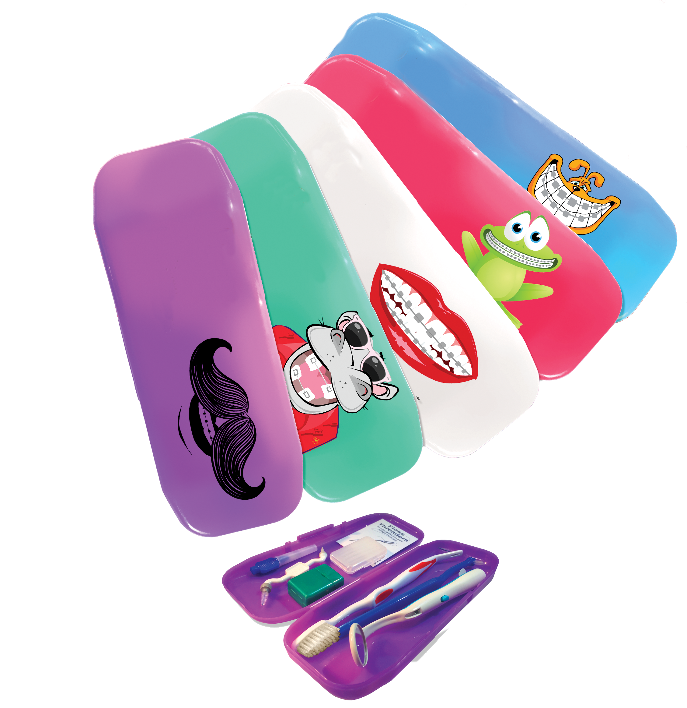 Orthodontic Home Care Kits - 8 piece kits come in assorted colors with your choice of character or you may opt for your office logo (personalization would be a 1 time set up fee of $35)Reg. Price $3.99 per kit. (12 kits w/o personalization or 144 kits w/personalization)