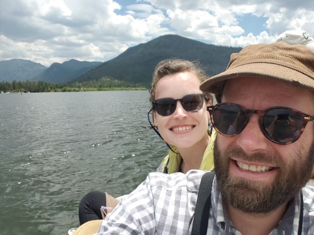 With my partner on a family weekend in Grand Lake, Colorado