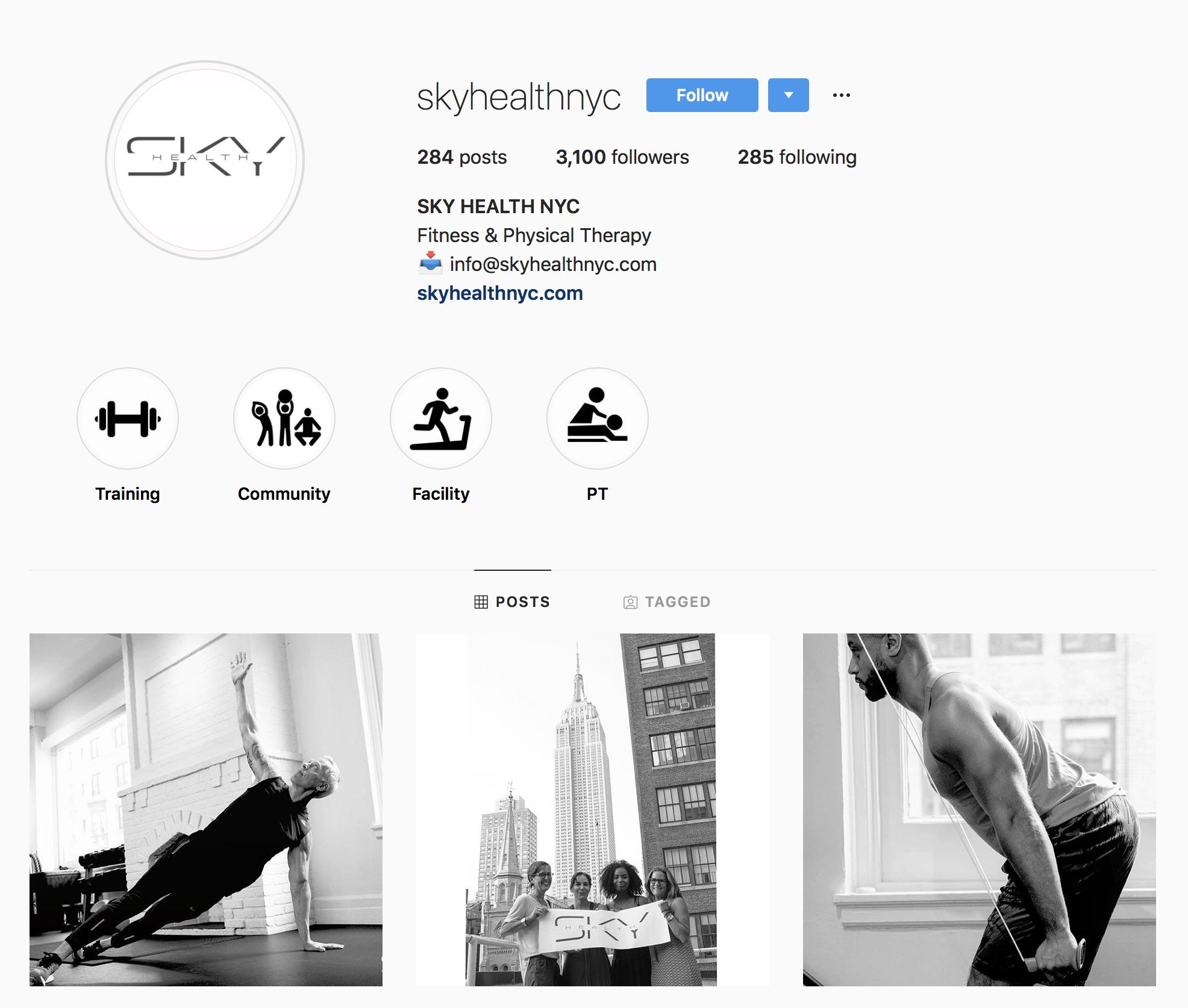 Sky Health NYC Instagram Page