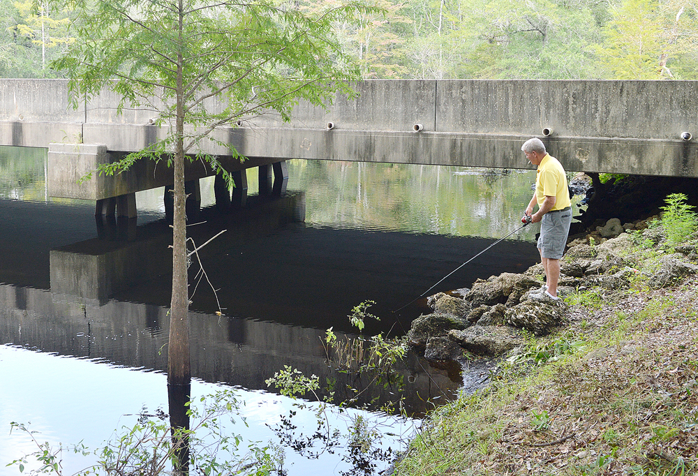 Doug Smith casts a Beetlespin toward a ripple under the Crusoe Bridge.