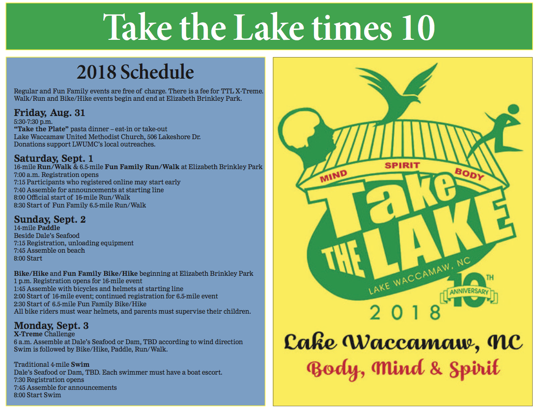 The annual Take the Lake event celebrates 10 years Labor Day weekend at Lake Waccamaw.