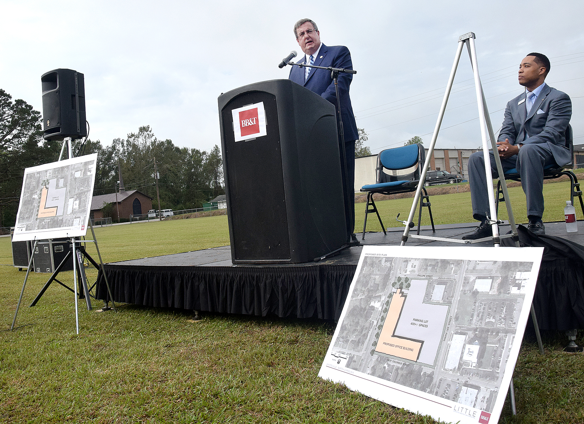 Phil Marion, BB&T southeastern Regional president, speaks at a press conference in Whiteville Tuesday. Staff photo by Les High