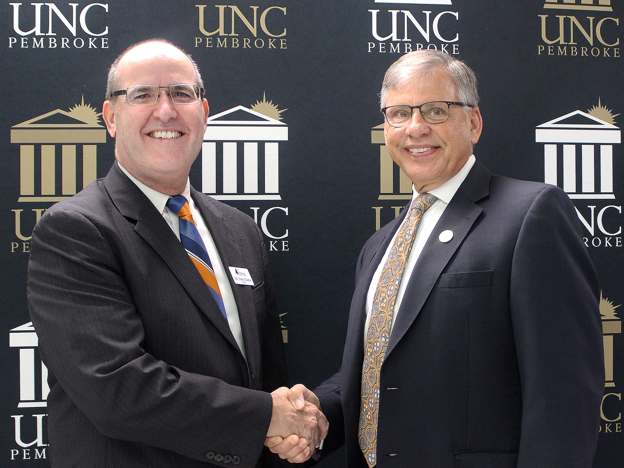 Southeastern Community College President Anthony Clarke and UNC Pembroke Chancellor Robin Cummings.
