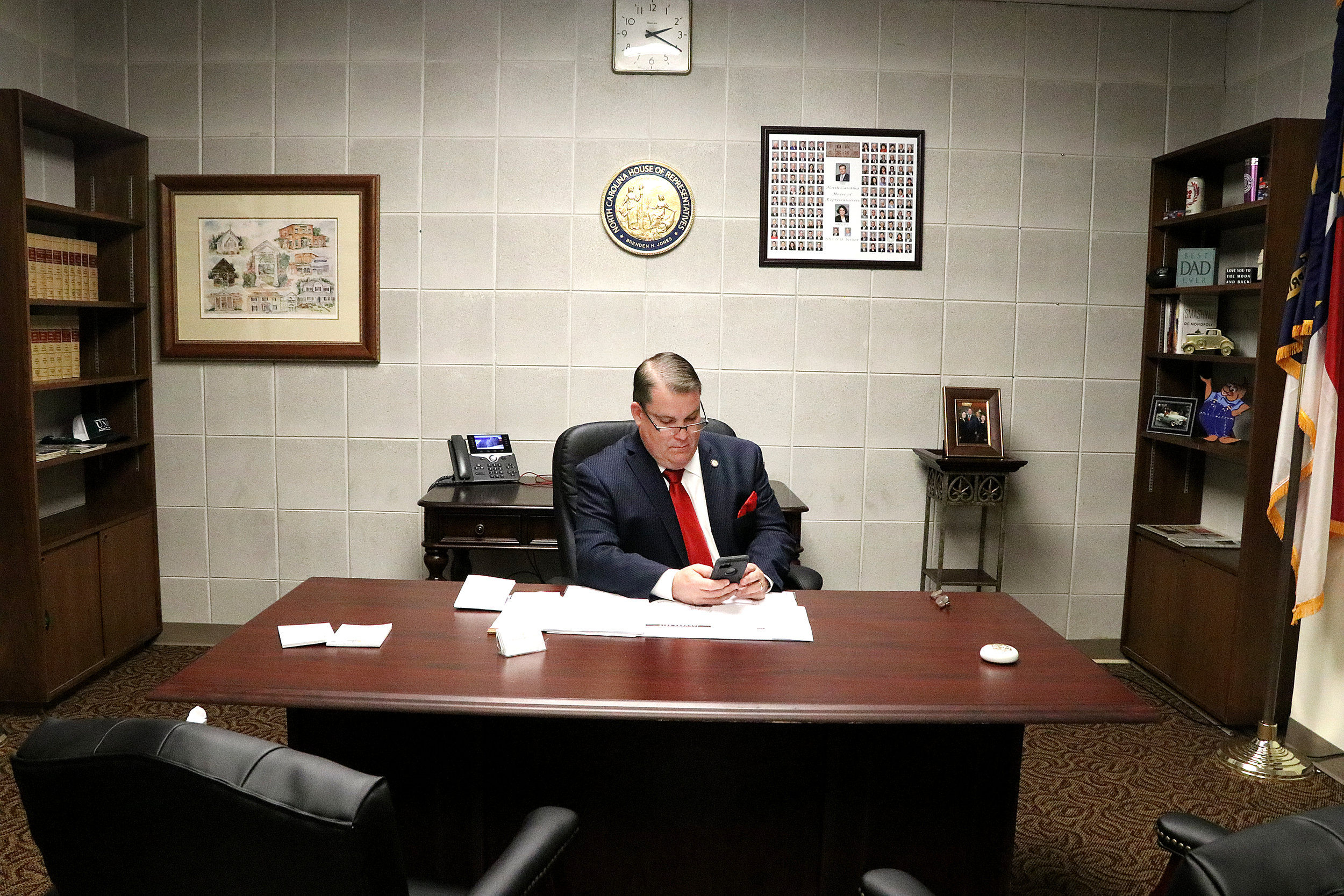 Rep. Brenden Jones (R-Columbus) works in his new office Wednesday in the Legislative Building. The office, which is four times larger than his previous one, is a result of Jones' new leadership post as deputy majority leader.