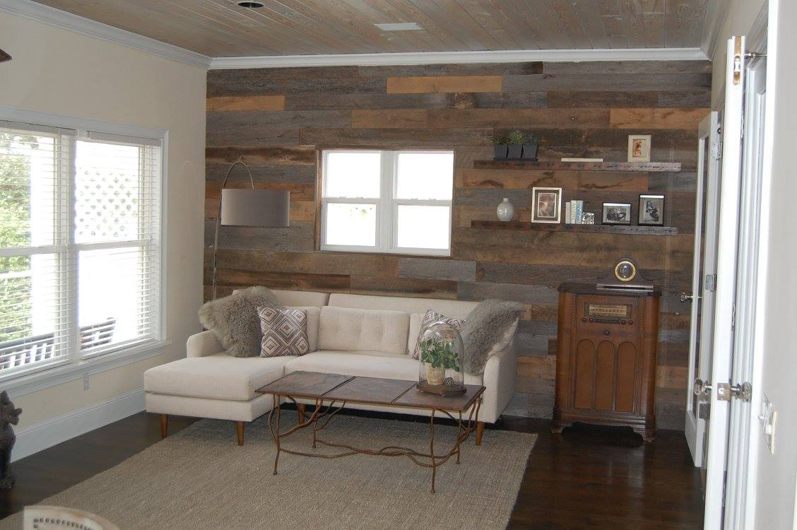 Gray & Brown Barn Wood Accent Wall