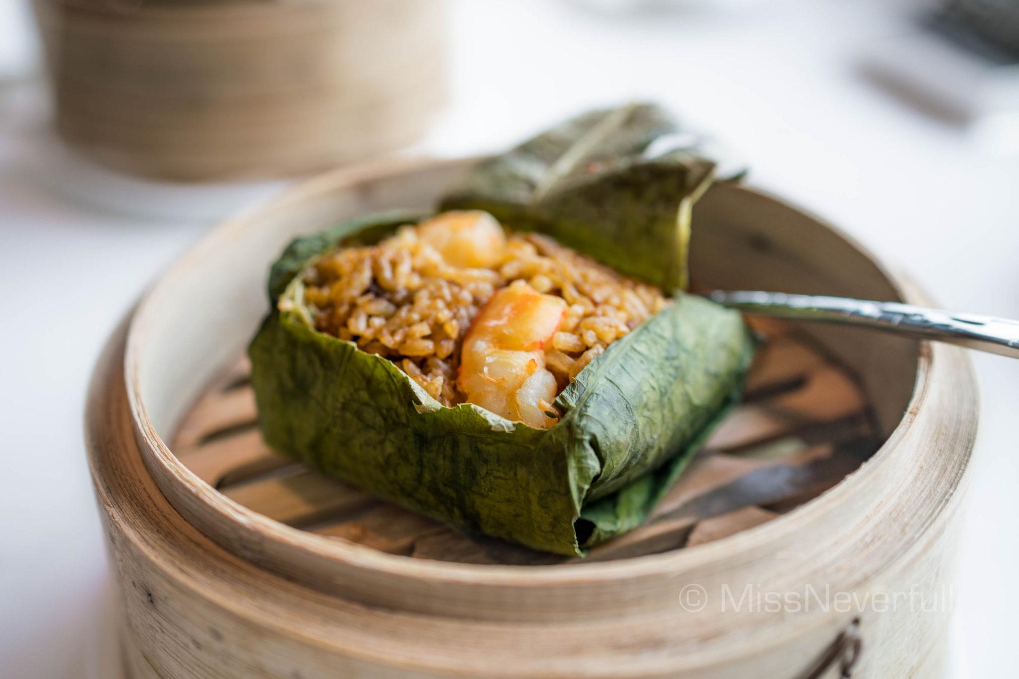 鮑粒荷葉飯 Fried rice with diced abalone, duck and shrimp wrapped in lotus leaf (HK$99)