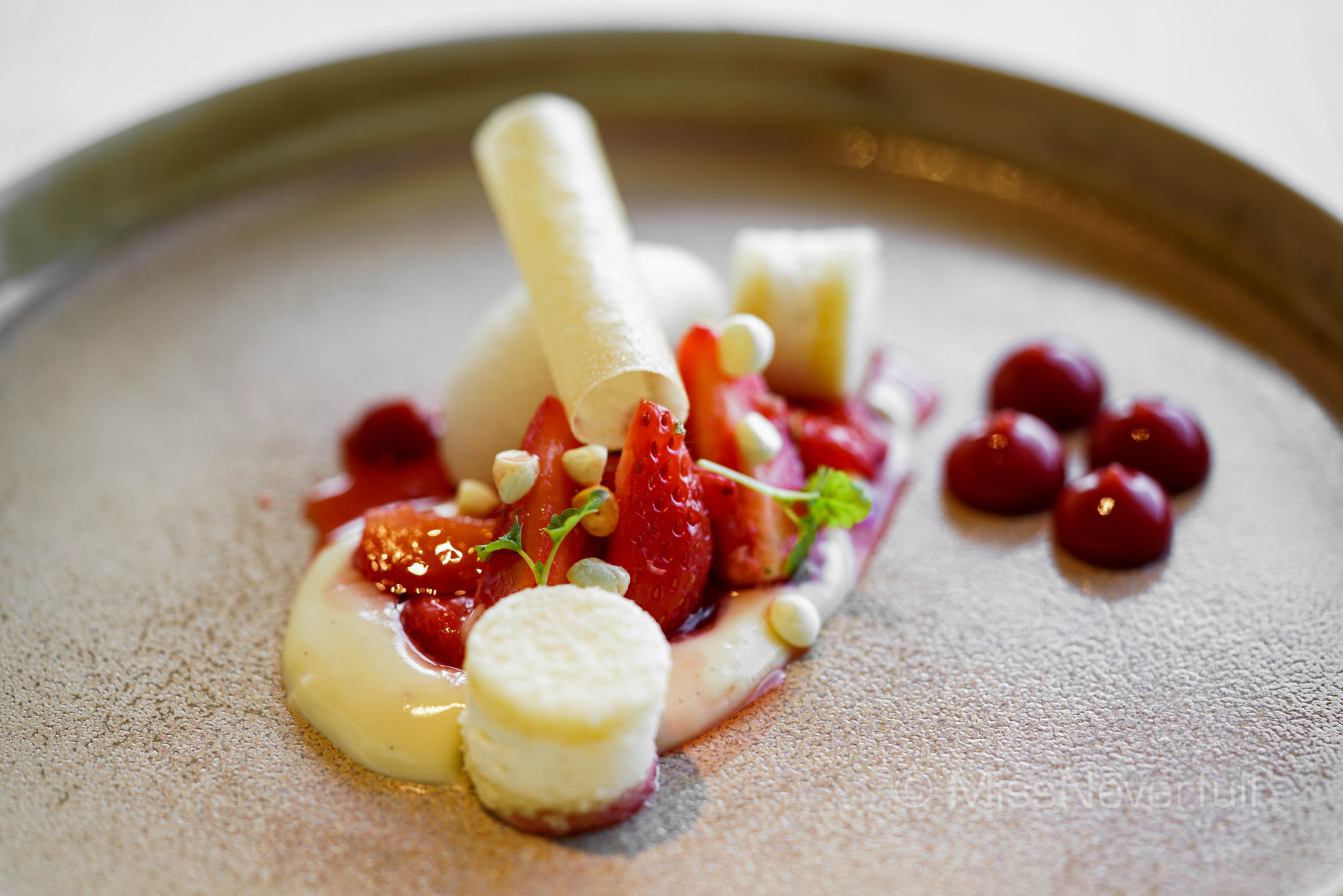 Gariguette strawberry, vanilla parfait and spiced sorbet