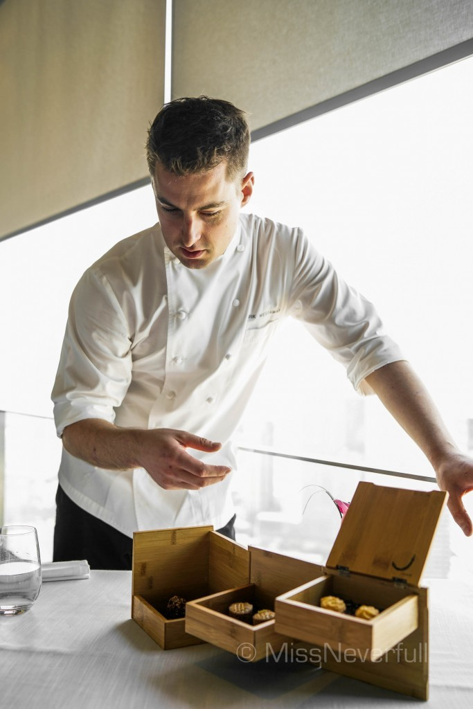 Chef Kirk Westaway introducing petit fours