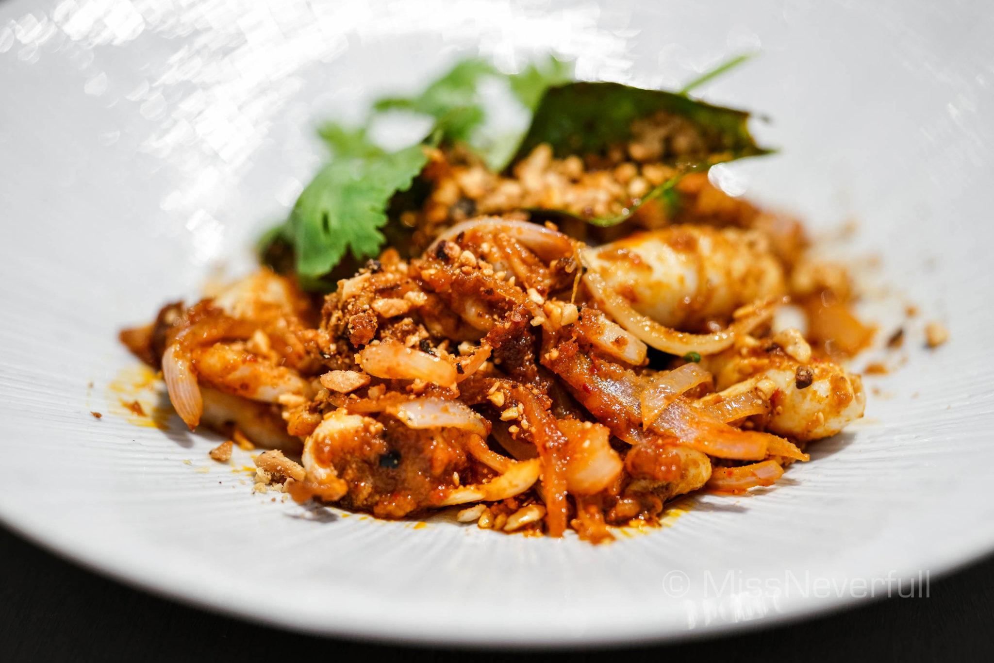 Wok Fried Baby Squid Berempah, Kaffir Lime Leaf, Roasted Peanuts