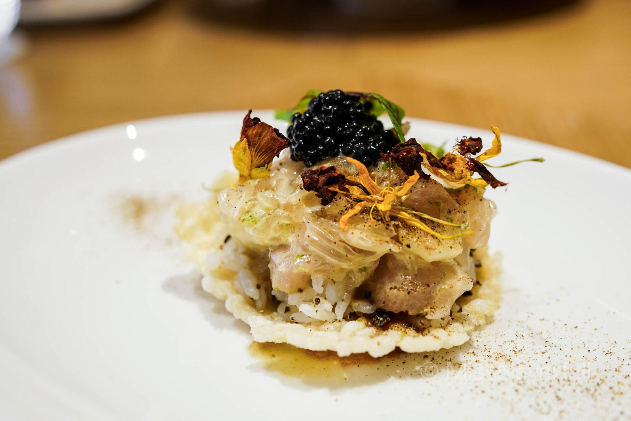 """HAMACHI """"ON TOAST"""", Cured Japanese hamachi with Avruga caviar"""
