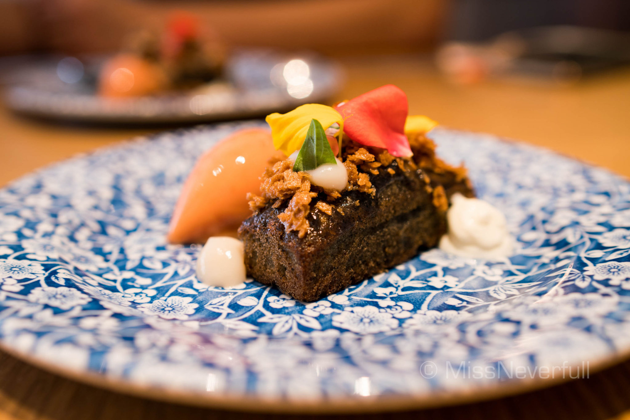 SESAME CAKE, Black sesame almond cake with pink guava sorbet