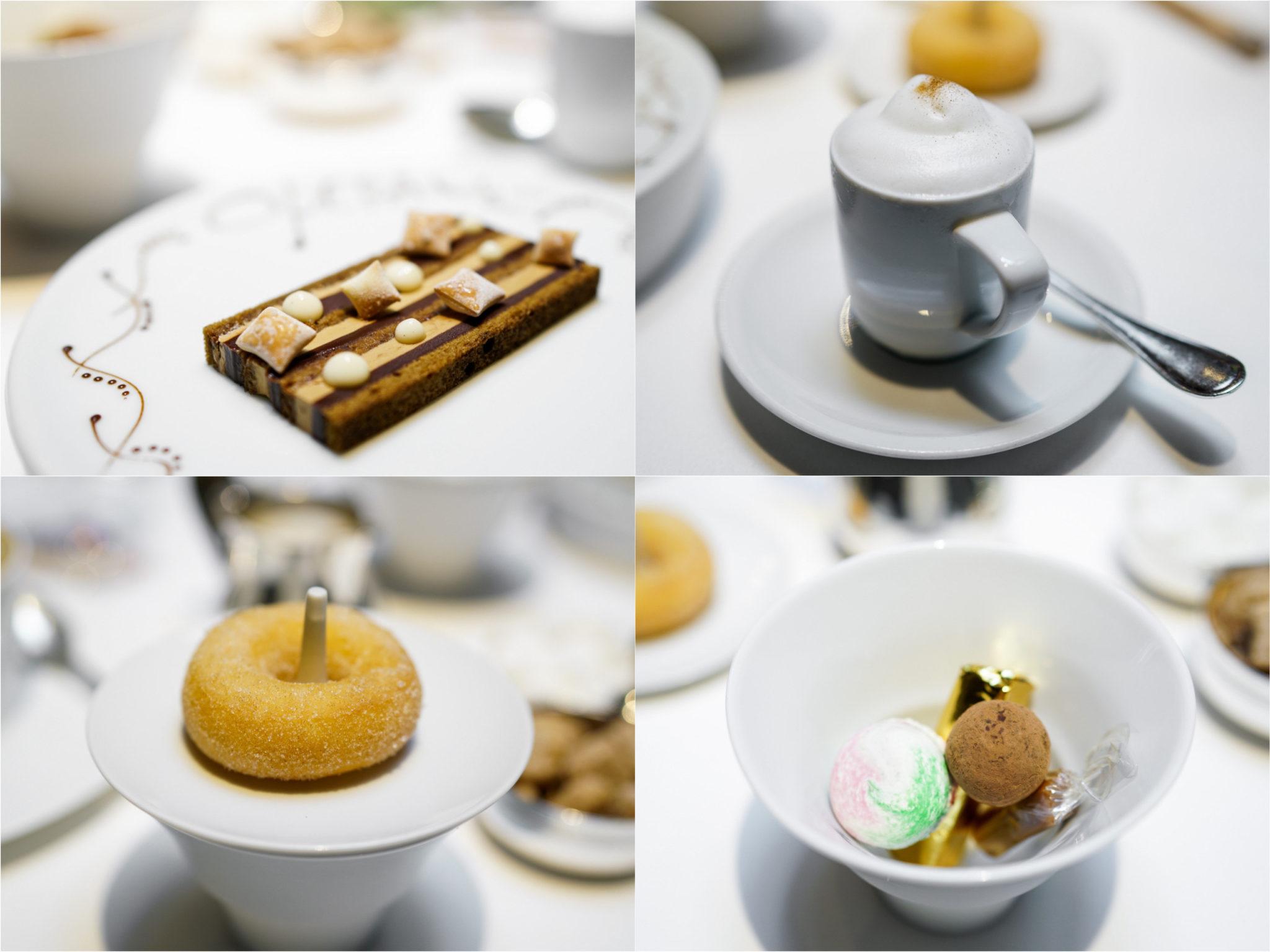 "Gateau Opera, bisciut joconde and Valrhona chocolate Ganache; ""cappuccino semi-freddo; cinnamon-sugared doughnuts; macarons, candies and chocolates"