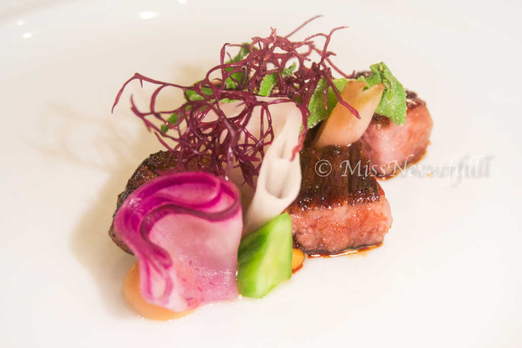 Charcoal grilled David Blackmore wagyu, Japanese pickles, miso mustard, ice plant