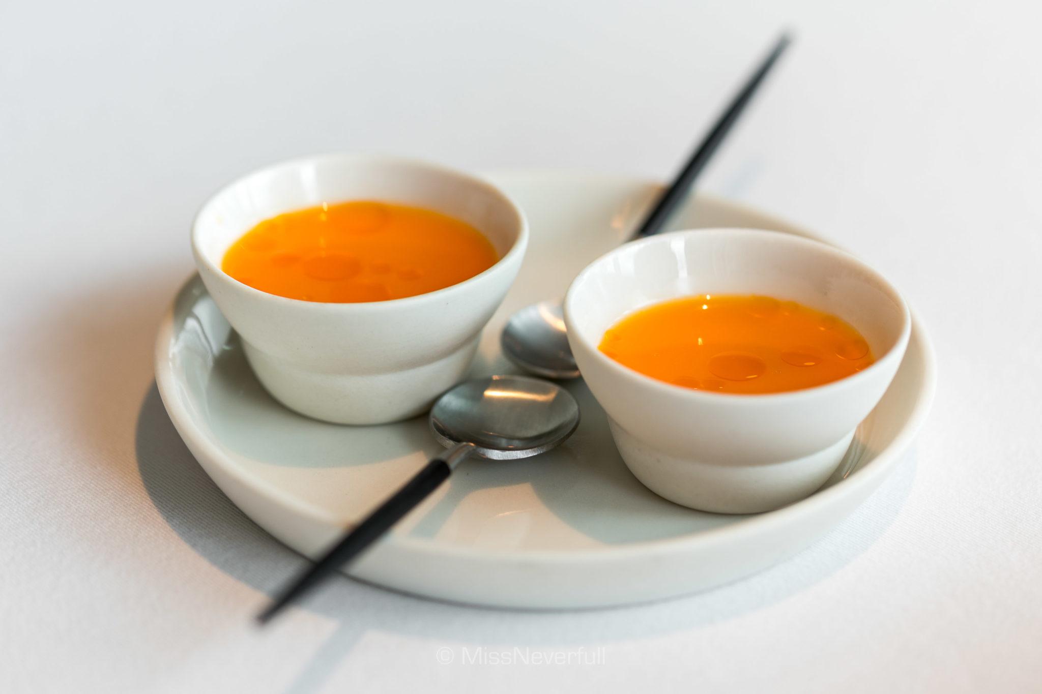 1.1 Lobster, milk & juice from fermented carrots & sea buckthorn