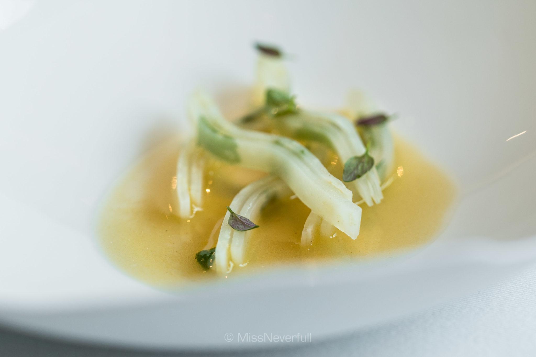 2.1 Celeriac, scallop & dried trout