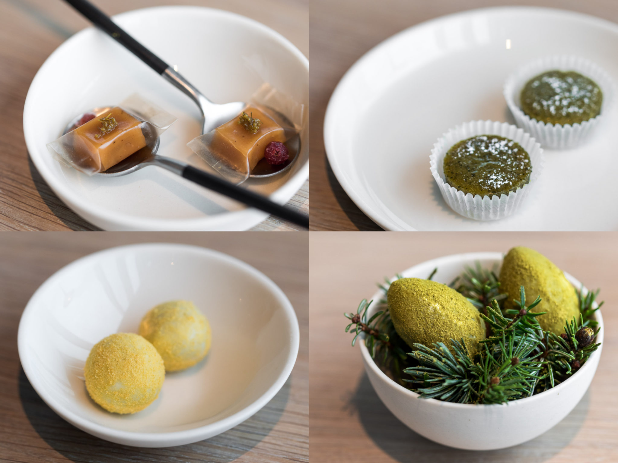 Caramel, Cake with pumpkin seed oil, Chocolate with oats & sea buckthorn, Green egg with pine