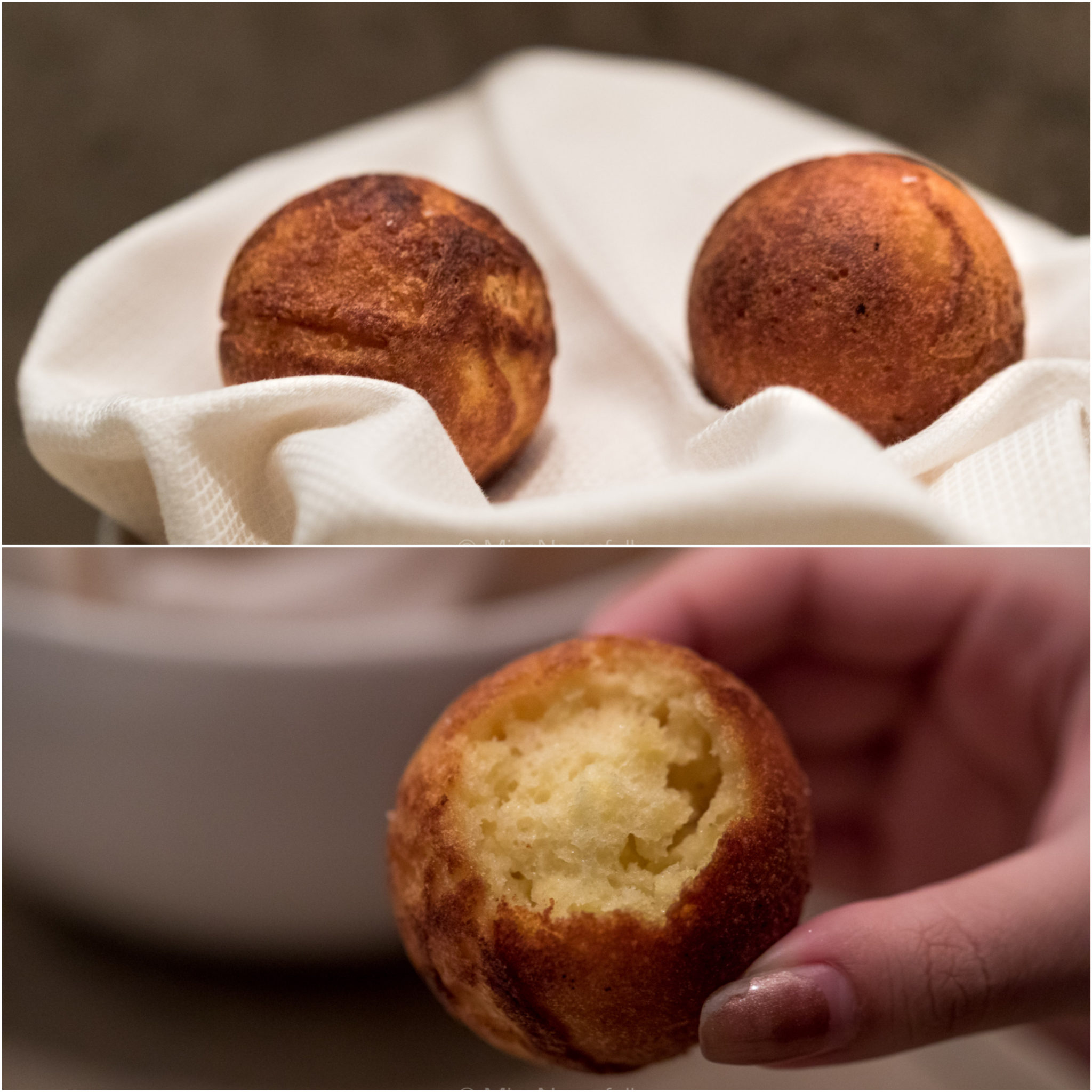 Æbleskiver fried in chicken fat and skin, served with crab salad