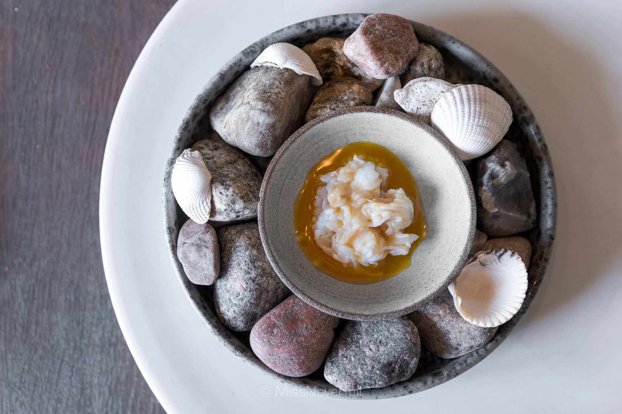 10. Steamed king crab and egg yolk sauce