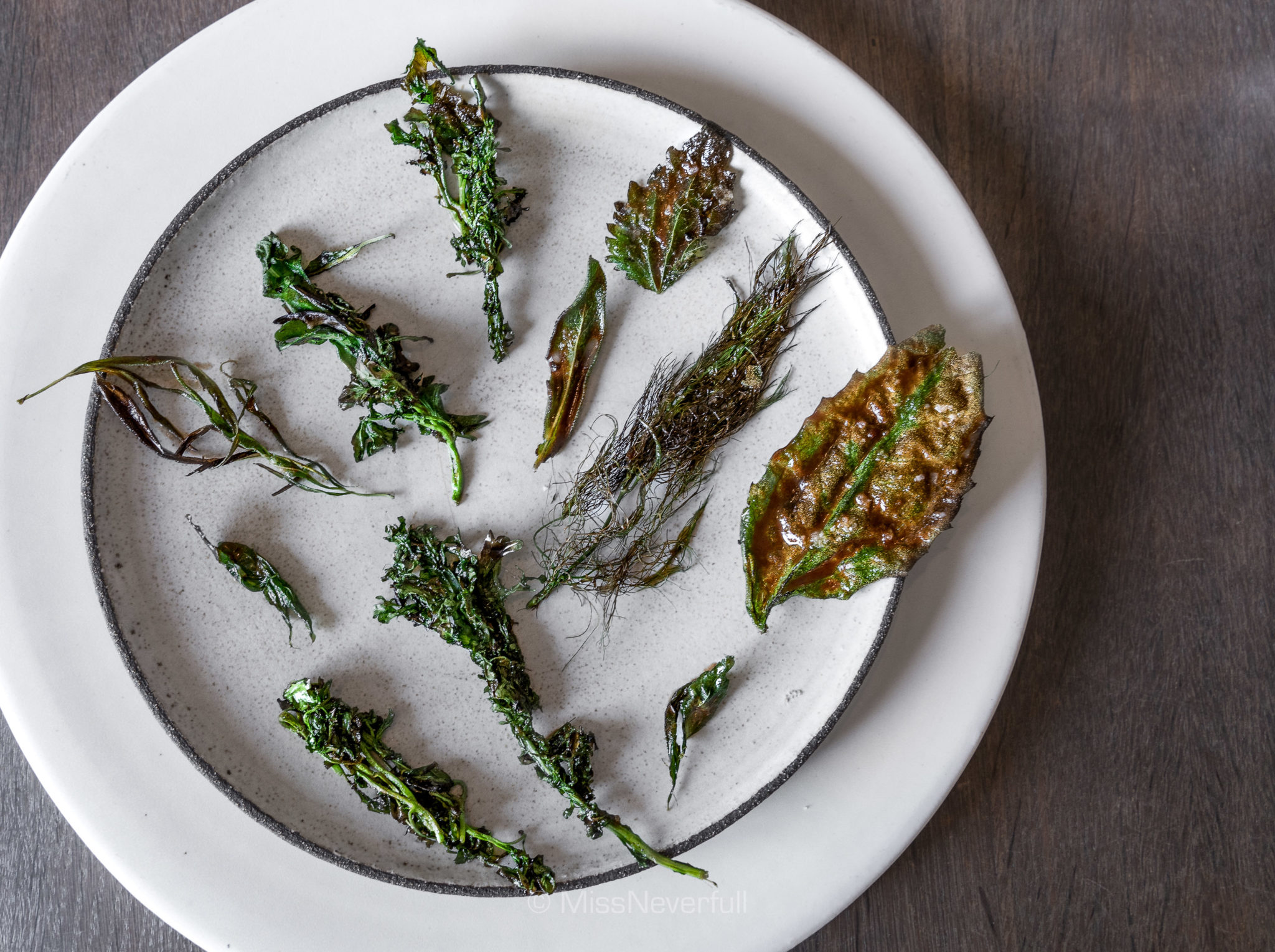 11. Charred greens with a scallop paste