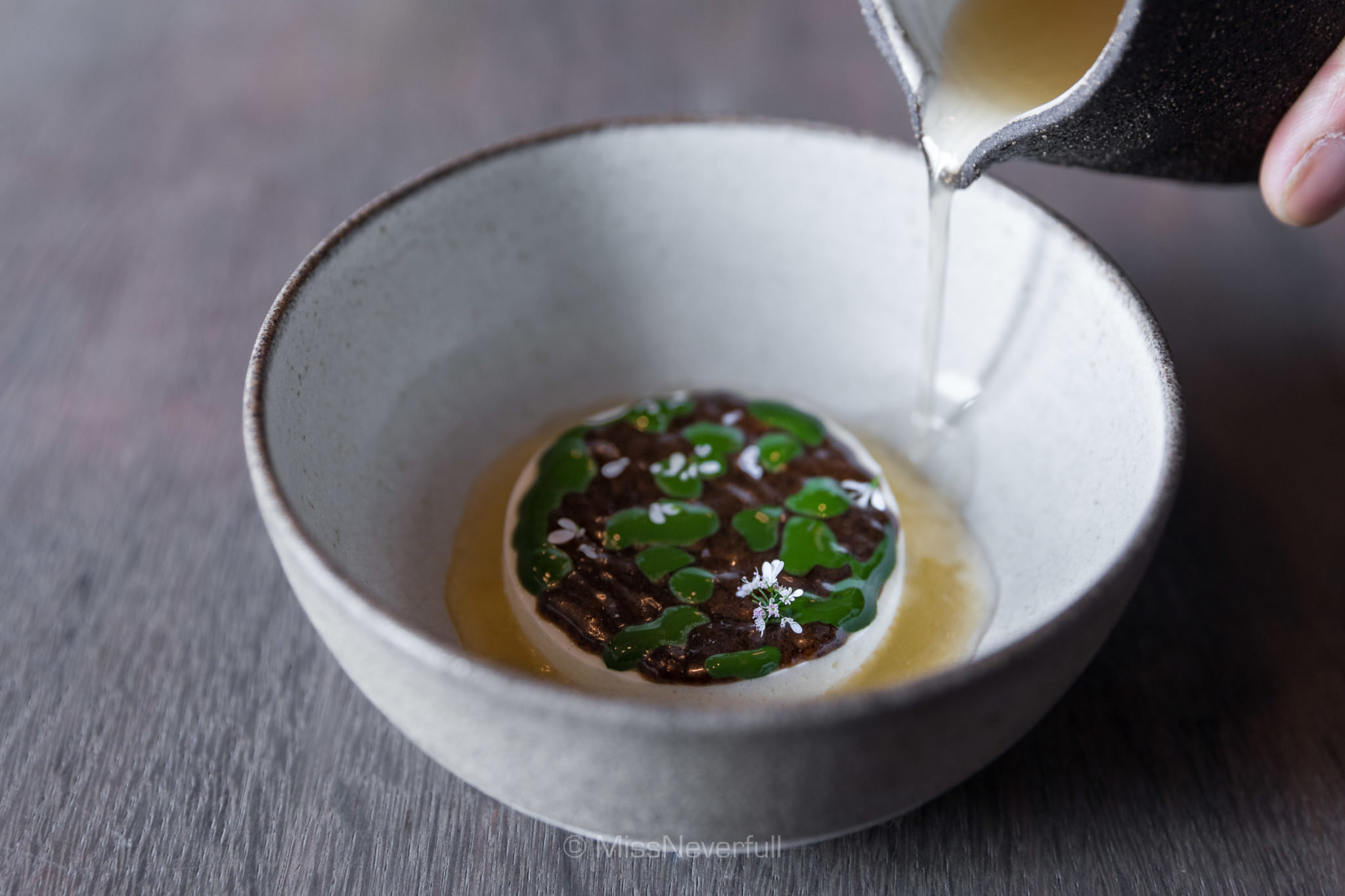13. A dessert of sheep's milk and ant paste