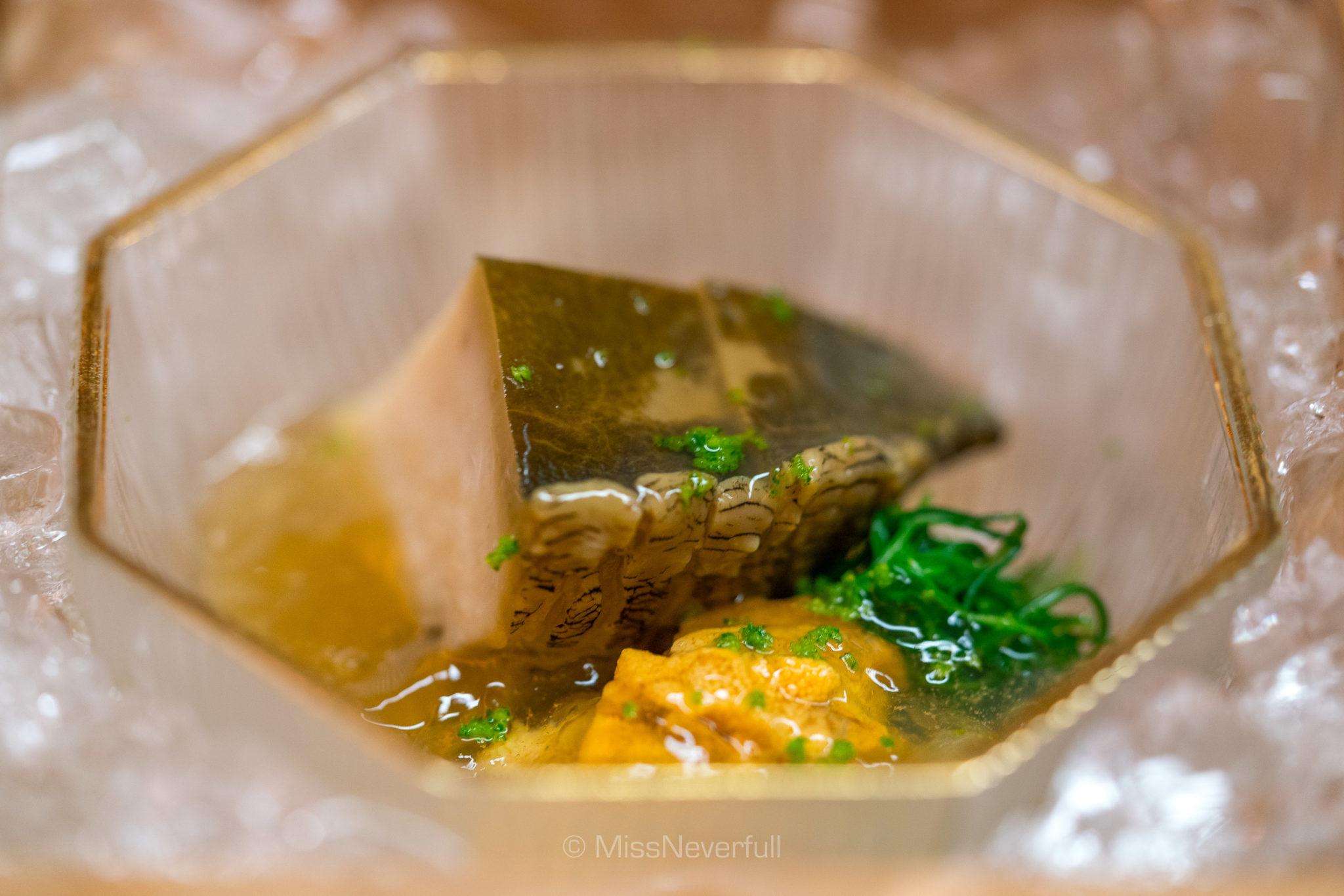 1. Abalone with sea urchin | 鮑と雲丹の先付け