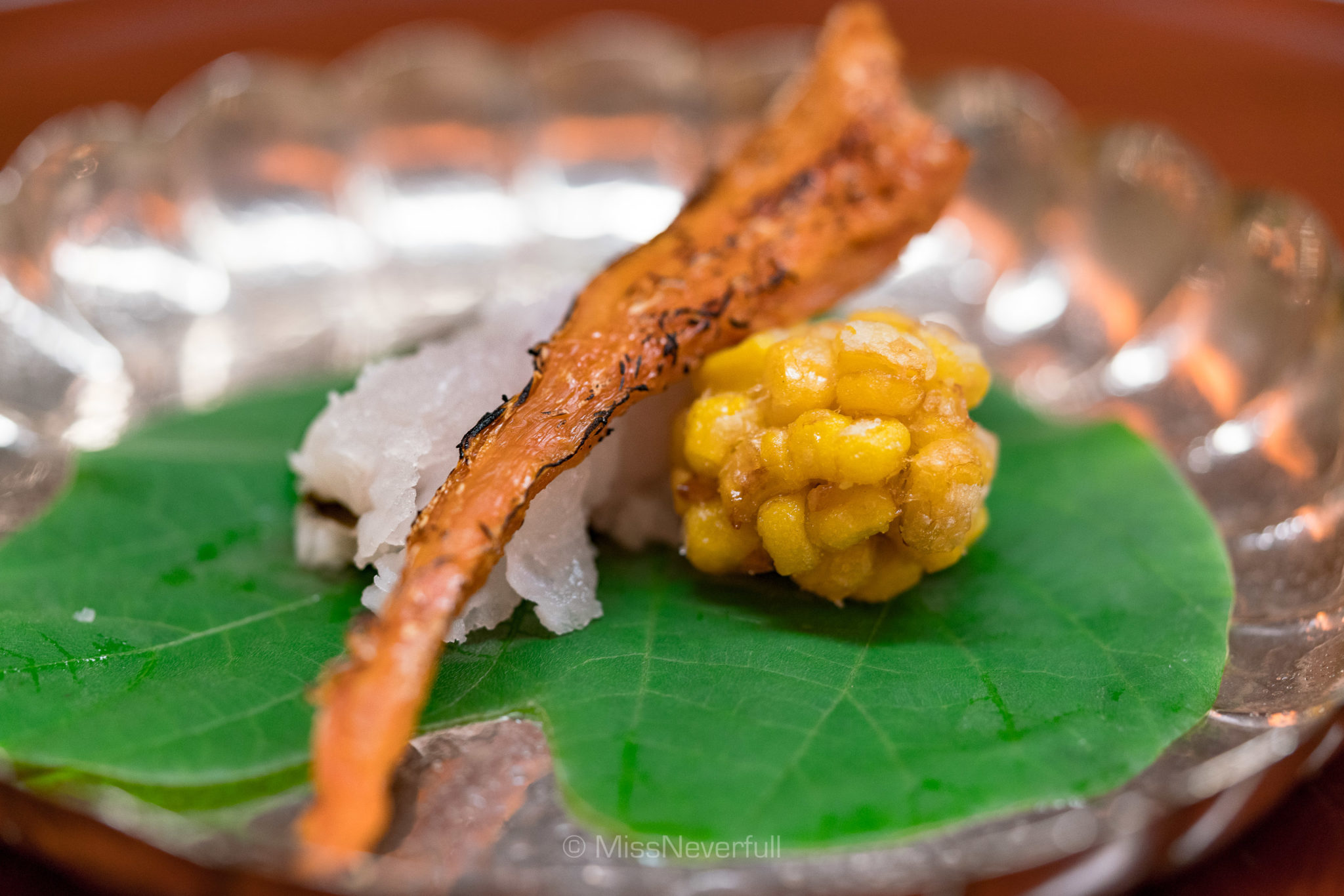 6. Hamo, Bachiko (dried sea cucumber ovaries), corn fritter | 鱧とバチコとうもろこしの揚げ物