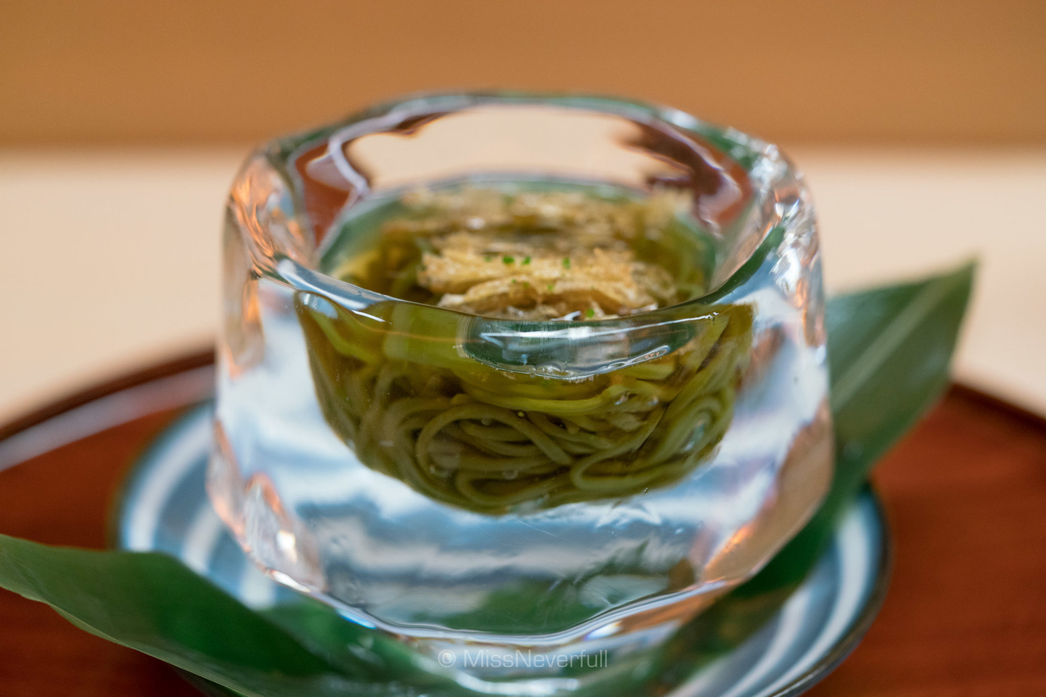 11. Cold soba with bamboo leaves | 笹の葉を練り込んだ冷麦