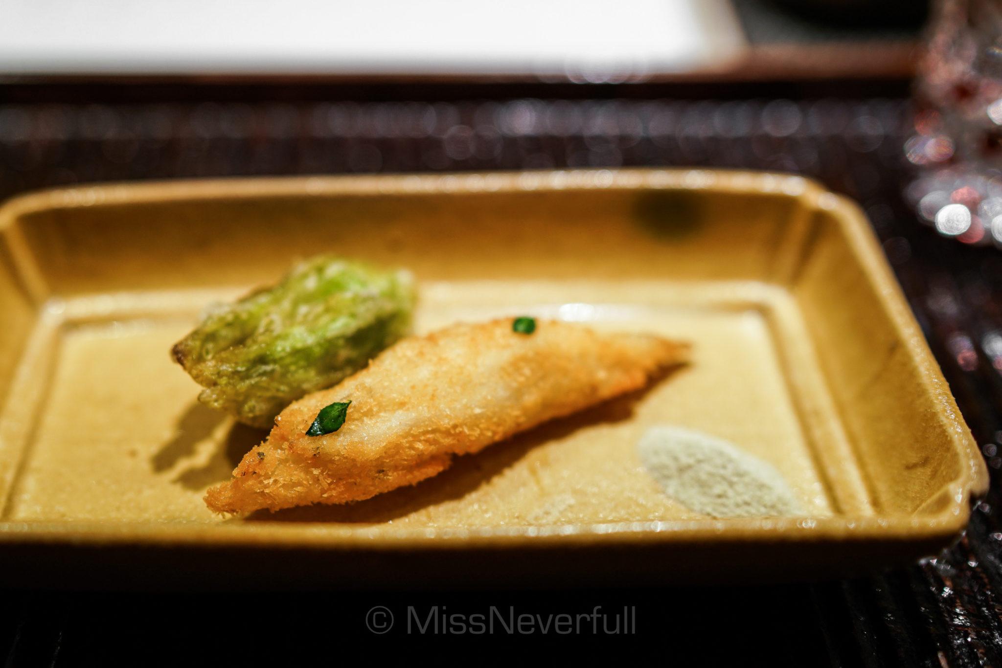 2. 揚物: 白魚俵揚げ 蕗の薹   Deep-fried White fish and giant butterbur