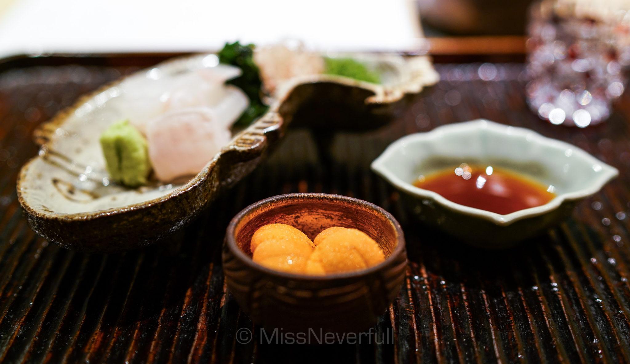 4.1 造り: 平目 生雲丹   Hirame sashimi and fresh uni