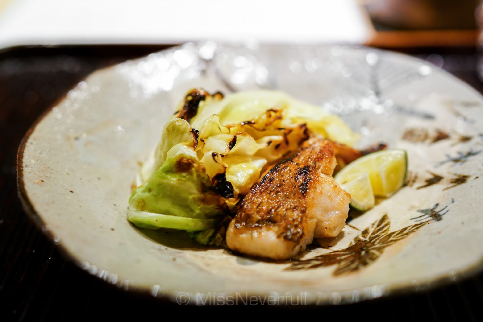 5. 焼物: のどぐろ 春きゃべつ   Grilled Nodoguro, Spring cabbage