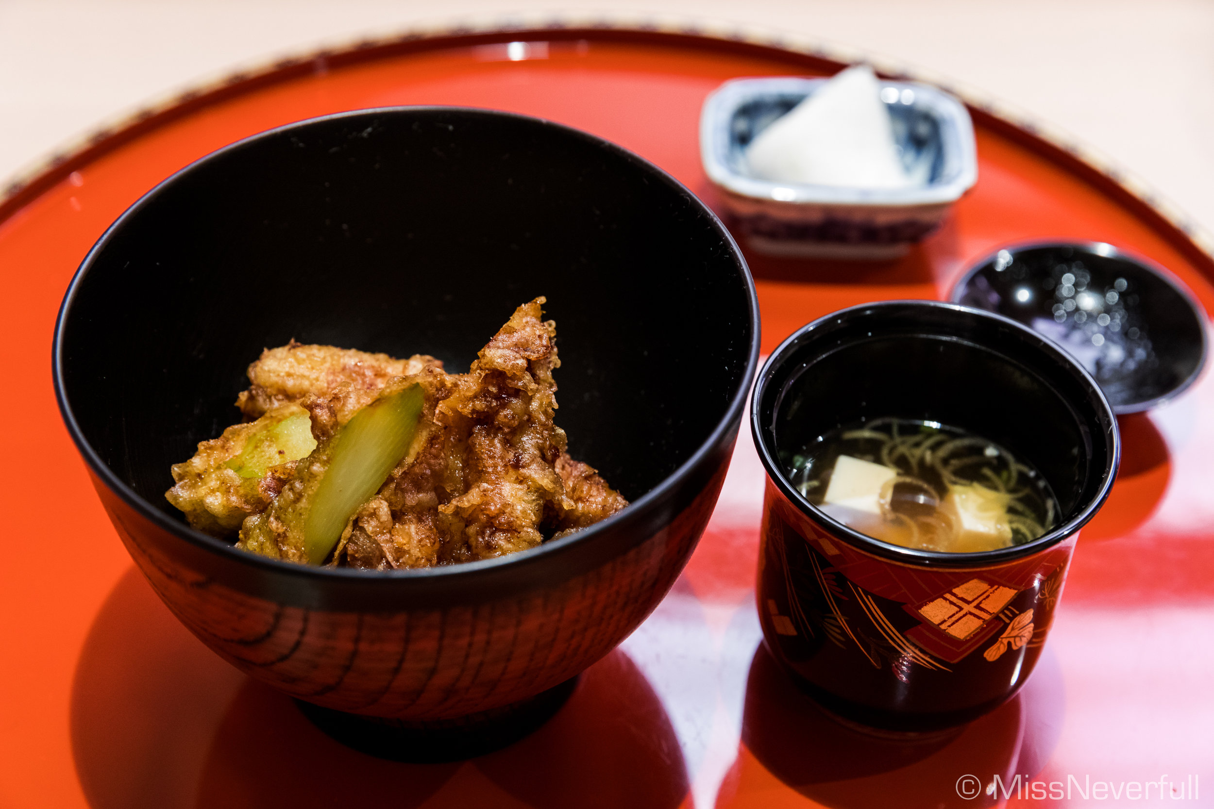 13. Rice set: ten-don, miso soup, pickles