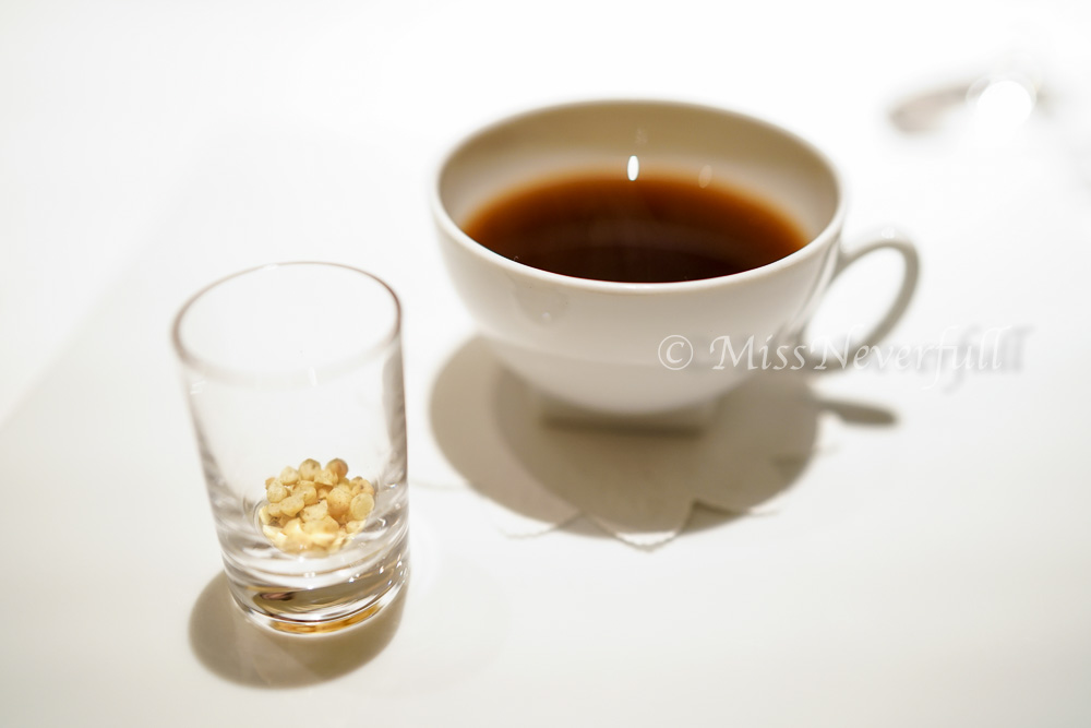 Crab consomme, Sansho rice puffs
