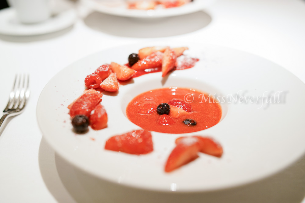Cold strawberry soup, mixed berries