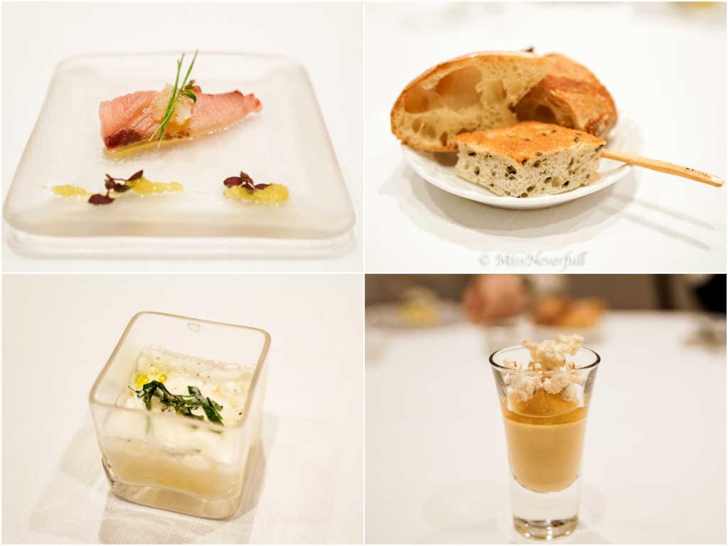 Buri carpaccio , breads, tomato and burrata cheese jelly, foie grasfranc with popcorn