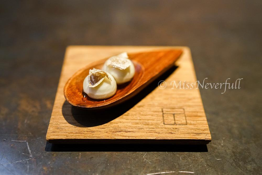 Amuse bouche: Cauliflower soup, white truffle