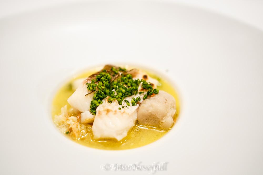 Stewed Hirame, turnip soup, taro
