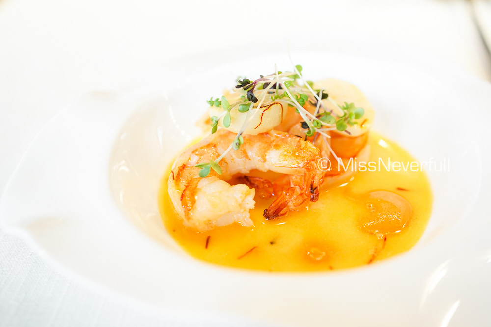SHRIMP AND SHAVED WATER CHESTNUTS Saffron, Chipotle and Silky Kabocha