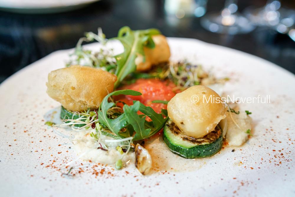 Appetizer: Cod brignet & brandade, Tomato and Yuzu sauce, Yuzu sorber, lily bulb, rocket