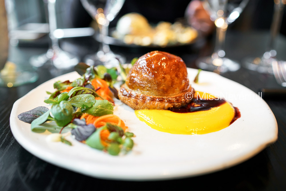 Main: Coq au vin pie, sweet carrot sauce and red wine sauce, shrimp, lotus root, mashed potatoes, apple and herbs